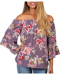 Ces Femme Women's Floral Off The Shoulder Long Sleeve Top, , hi-res