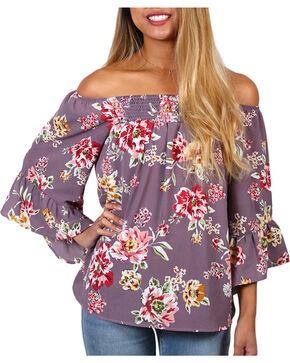 Ces Femme Women's Floral Off The Shoulder Long Sleeve Top, Mauve, hi-res