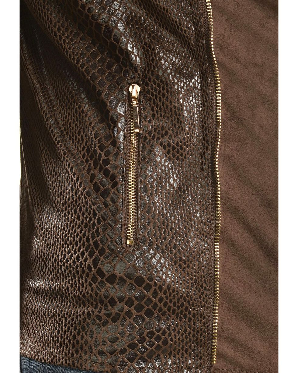 Faux Suede Snakeskin Print Jacket, , hi-res