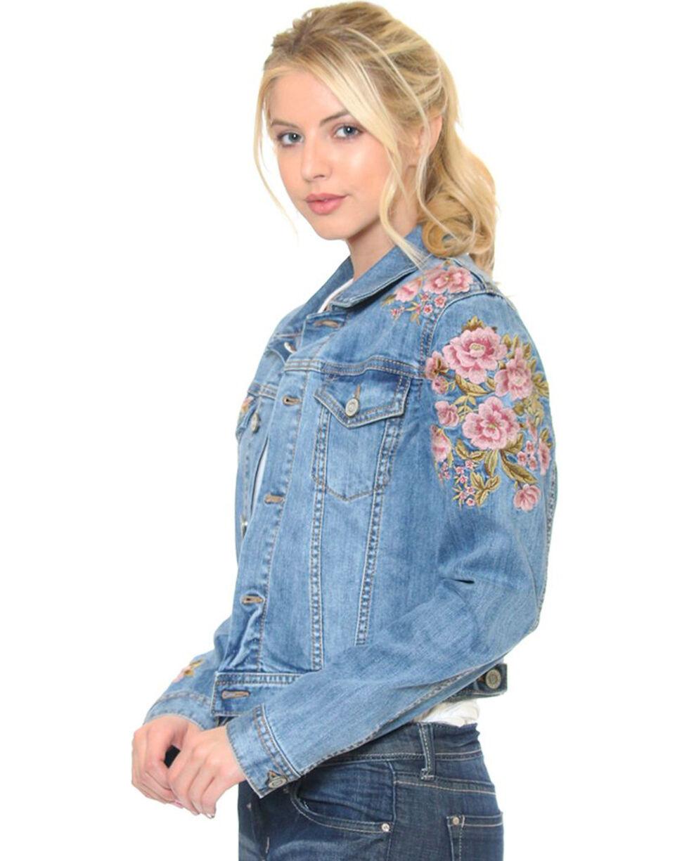 Grace in LA Women's Indigo Azalea Denim Jacket , Indigo, hi-res