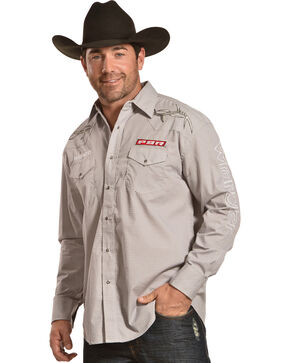 Wrangler Men's PBR Logo Long Sleeve Snap Shirt, Grey, hi-res
