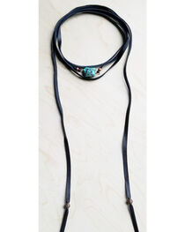 Jewelry Junkie Women's Wrap Around Choker with Turquoise Chunk in Black, , hi-res
