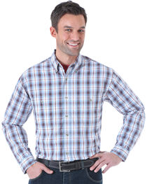 Wrangler Men's Rugged Wear Slate Plaid Long Sleeve Shirt , , hi-res