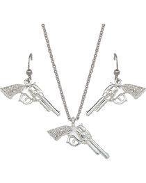 Montana Silversmiths Rhinestone Pistol Necklace & Earrings Set, , hi-res