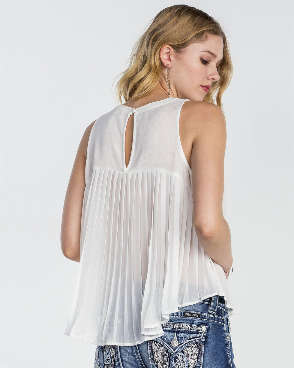 Miss Me Women's Pretty in Pleats Embroidered Sleeveless Top, , hi-res