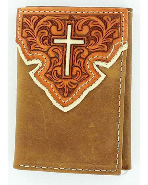 Nocona Belt Co Men's Western Scroll Cross Tri-Fold Wallet, Brown, hi-res