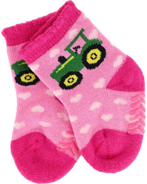 John Deere Girls' Tractor Hearts Socks, Pink, hi-res