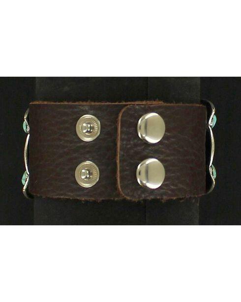 Blazin Roxx Fancy Concho Leather Cuff, Brown, hi-res
