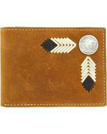 Nocona Buffalo Concho Leather Laced Bi-Fold Wallet, , hi-res