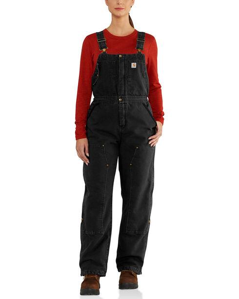 Carhartt Women's Weathered Duck Wildwood Bib Overalls , Black, hi-res