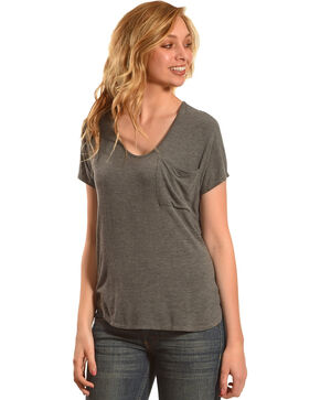 Derek Heart Women's Extended Cap Sleeve Hi Low Shirt - Grey, Grey, hi-res