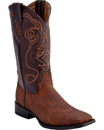 Ferrini Men's Bullhide Print Western Boots - Square Toe , Brown, hi-res
