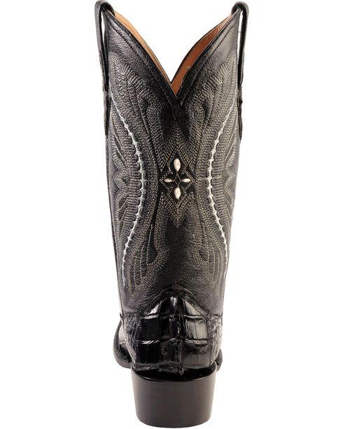 Ferrini Caiman Tail Cowboy Boots - Round Toe, Black, hi-res