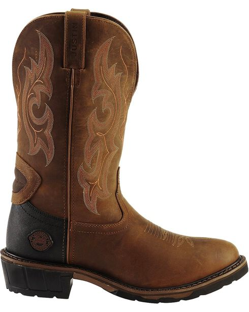 Justin Original Work Men's Hybred Round Toe Western Work Boots, Gaucho, hi-res