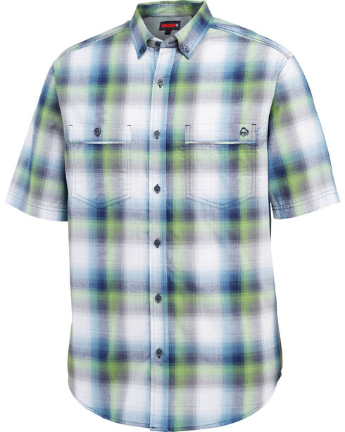 Wolverine Men's Navy Springport Short Sleeve Plaid Shirt , Navy, hi-res