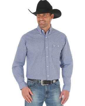 Wrangler 20X Men's Blue/Light Blue Advanced Comfort Competition Shirt - Big & Tall, Blue, hi-res