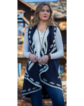Ryan Michael Women's Navy Thunderbird Shawl , Navy, hi-res
