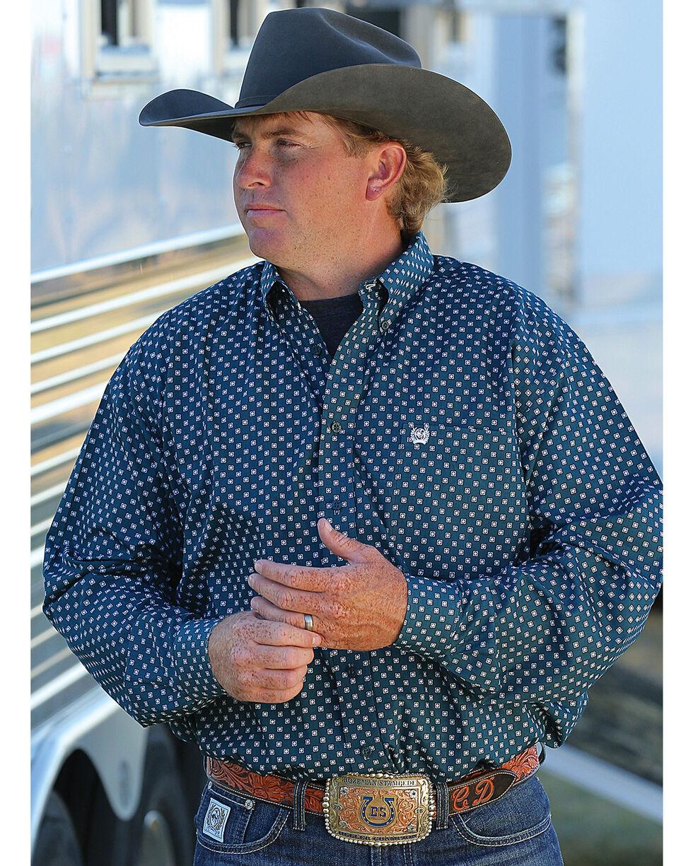 Cinch Men's Green Geometric Print Western Shirt - Big , Green, hi-res