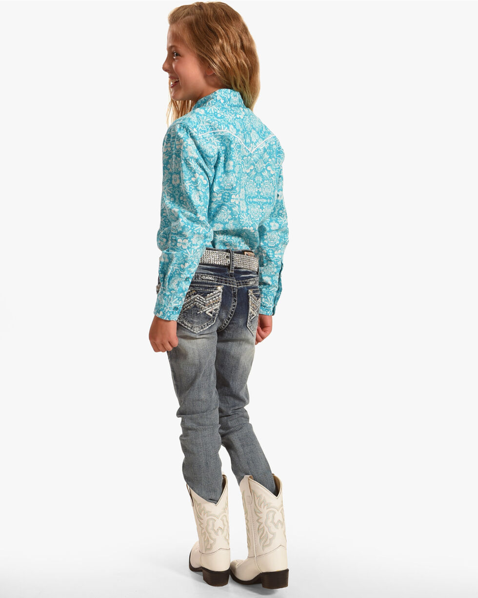 Cowgirl Hardware Girls' Peacock Long Sleeve Western Snap Shirt, Turquoise, hi-res