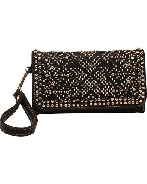 Blazin Roxx Women's Studded Tri-Fold Wallet, Black, hi-res