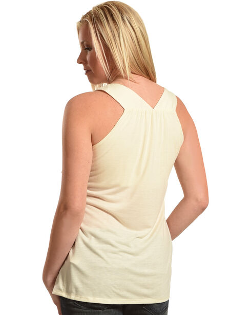 Wrangler Women's Sleeveless Stone Embellished Top, Natural, hi-res