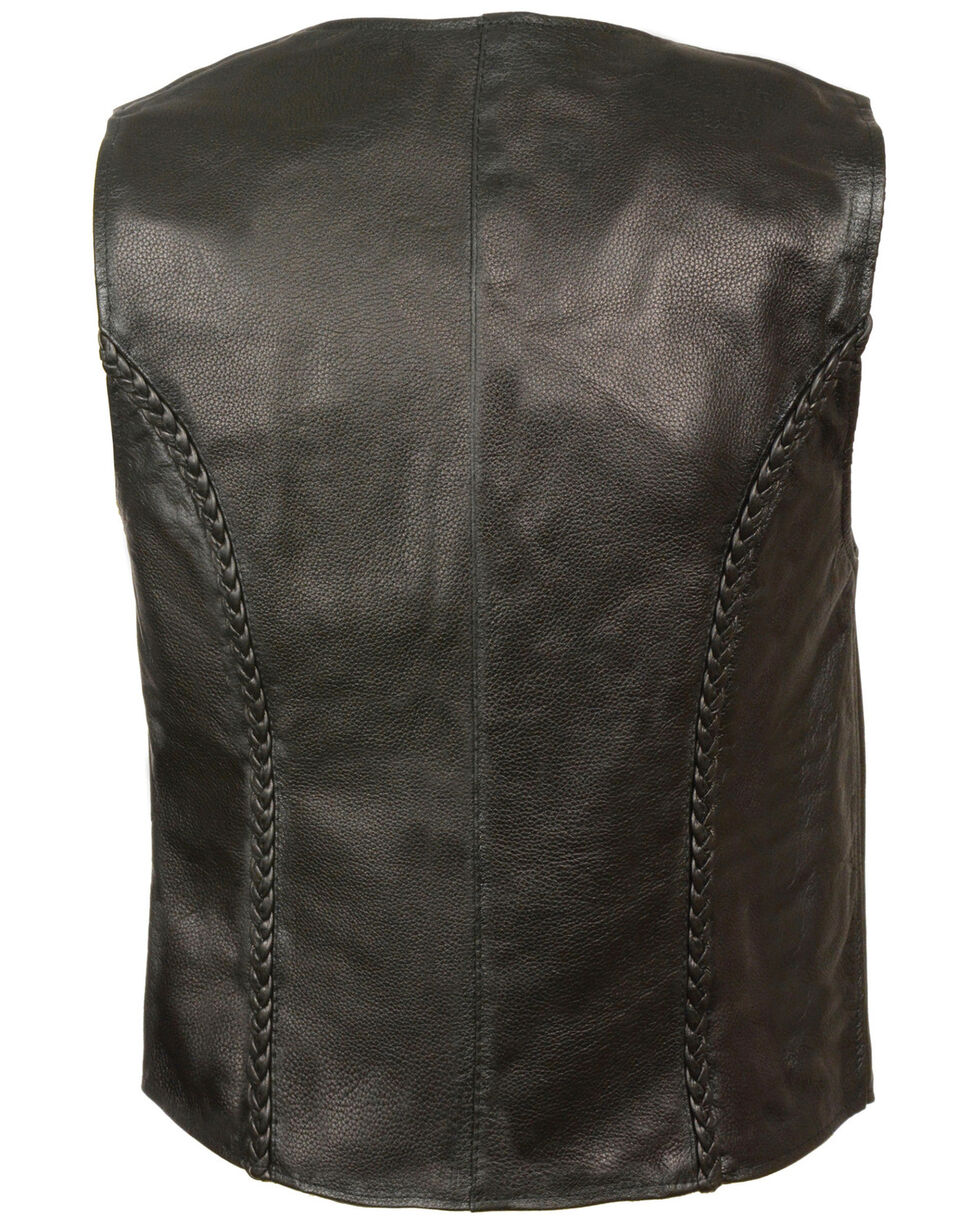 Milwaukee Leather Women's Zipper Front Braided Vest, Black, hi-res