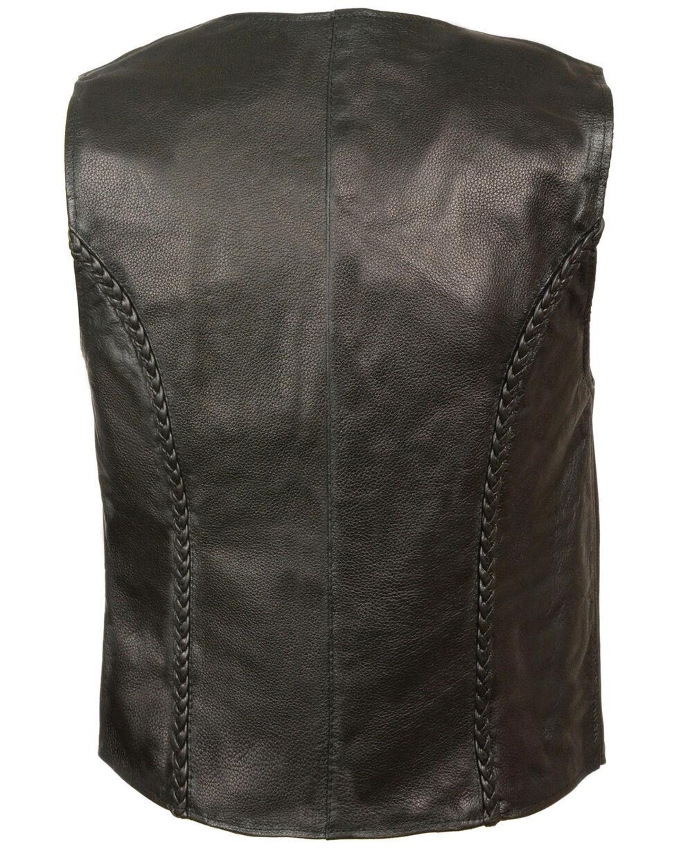 Milwaukee Leather Women's Zipper Front Braided Vest - 5XL, Black, hi-res