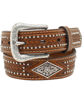 Ariat Youth Studded Basketweave Leather Belt, Tan, hi-res