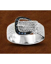 Kelly Herd Sterling Silver Rhinestone Buckle Ring, , hi-res