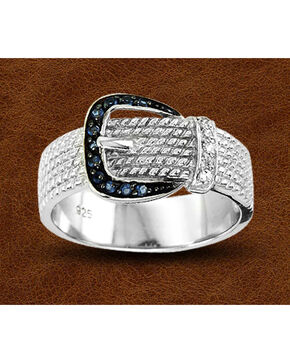 Kelly Herd Sterling Silver Rhinestone Buckle Ring, Silver, hi-res