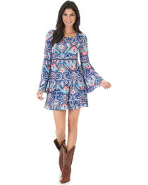 Wrangler Women's Rock 47 Pattern Bell Sleeve Dress , , hi-res