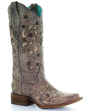 Corral Women's Inlay and Embroidered Western Boots, Sand, hi-res