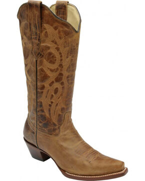 """Corral Women's 13"""" Distressed Waxy Leather Fashion Boots, Brown, hi-res"""