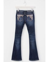 Miss Me Girls' Indigo Flower Embellished Jeans - Boot Cut , , hi-res