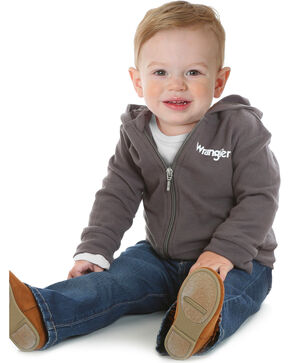 Wrangler Infant Boys' Gray Full Zip Hoodie , Grey, hi-res