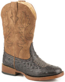 Roper Youth Boys' Brown Faux Ostrich Print Cowboy Boots - Square Toe , , hi-res