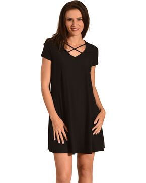 Derek Heart Women's Criss Cross Neck Trapeze Dress, Black, hi-res