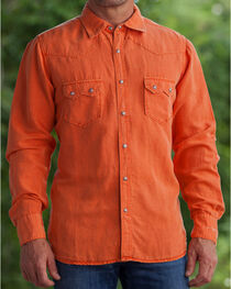 Ryan Michael Men's Salmon Silk Linen Sawtooth Snap Shirt, , hi-res