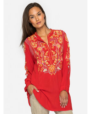 Johnny Was Women's Kells Rayon Blouse, Orange, hi-res