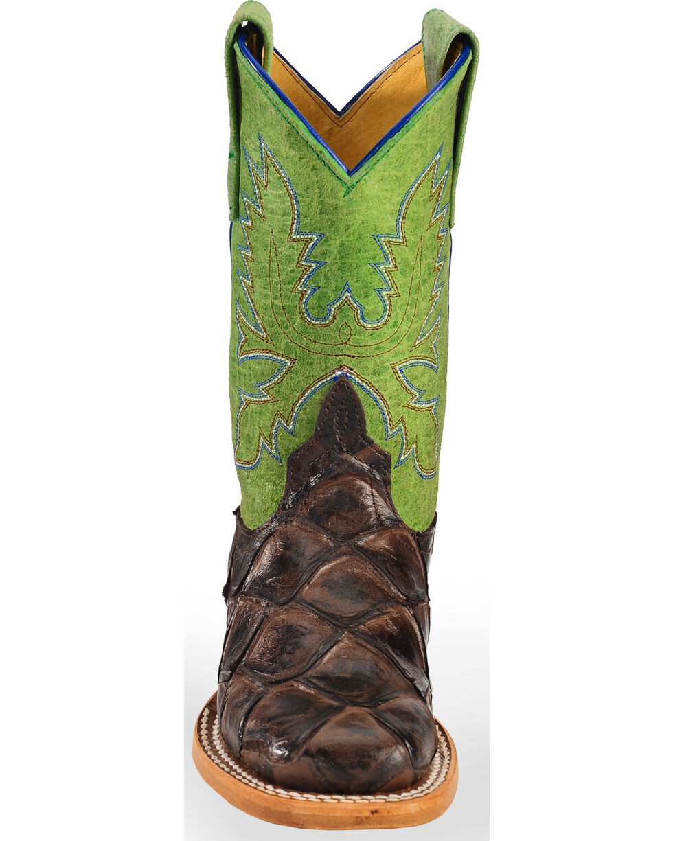 Horse Power Boys' Brown Filet Of Fish Print Boots - Square Toe, Brown, hi-res