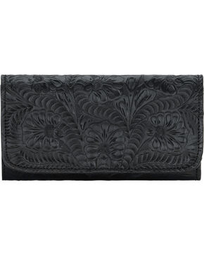 American West Women's Tri-Fold Wallet with Snap Closure, Black, hi-res