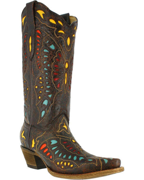 Corral Women's Butterfly Inlay Western Boots, Brown, hi-res