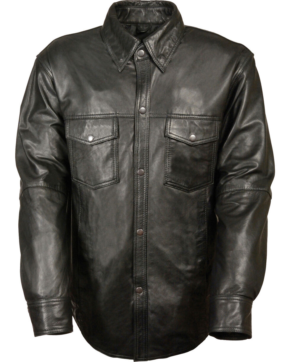 Milwaukee Leather Men's Black Lightweight Leather Shirt , Black, hi-res