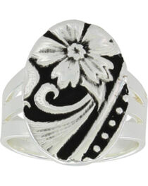 Montana Silversmiths Women's LeatherCut Western Flower Ring, , hi-res