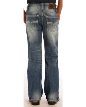 "Rock & Roll Boys' Small ""V"" Slim Jeans - Boot Cut, Indigo, hi-res"