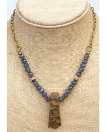 InspireDesigns Women's Blue Beaded and Forged Rock Necklace , , hi-res