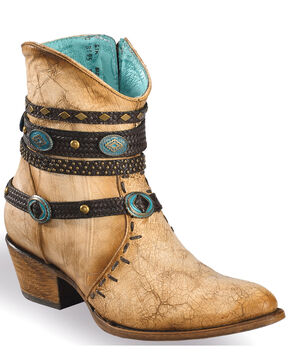 Corral Women's Zipper Studded Ankle Harness Fashion Boots, Beige/khaki, hi-res