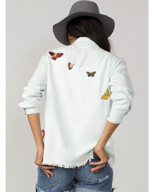 MM Vintage Women's Light Blue Embroidered Butterfly Shirt, Light Blue, hi-res