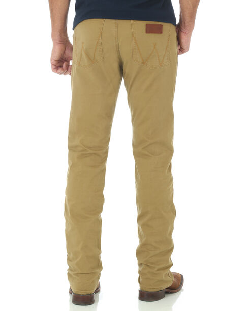 Wrangler Retro Slim Fit Straight Leg Khaki Jeans, Tan, hi-res