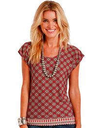 Panhandle Slim Women's Multi Diamond Border Print Top , , hi-res